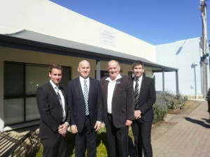Victor Harbor Branch president Boyd Fitton, Area Seventy Elder Andrew O'Riordan,  Mayor Graham Philp and Marion Stake president Jason Ellis at the new church building at 94 Victoria Street, Victor Harbor.