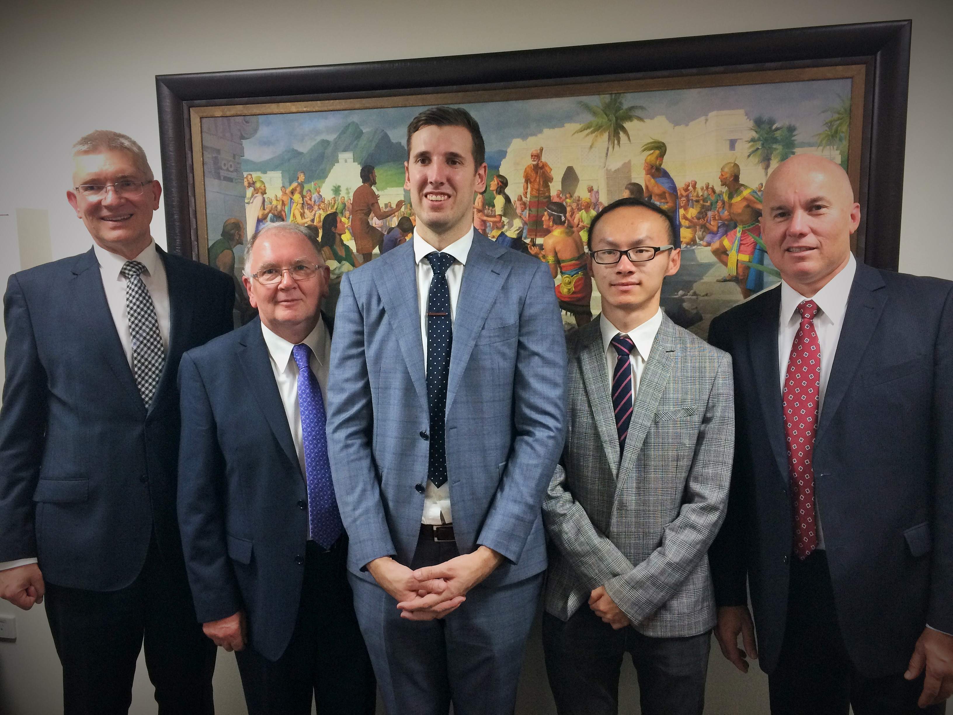 New leadership, L-R: Firle stake president Rainer Korte with Adelaide city branch counsellor John Addis, branch president Shaun Scott, counsellor Mark Ruan and Eldr And5rew O'Riordan of the Seventy.